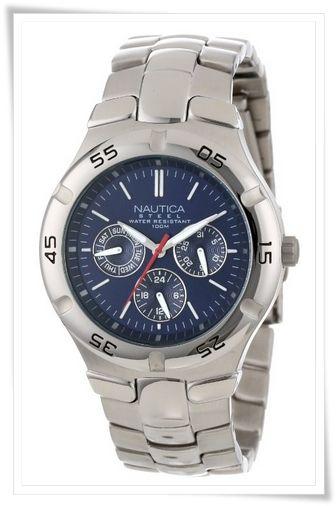 Nautica Men's N10061 Stainless Steel Round Multi-Function Watch
