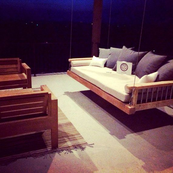 Modern Swing Bed, Outdoor bed, Floating Bed, Day Bed Swing Porch swing Handmade with Cedar and Metal