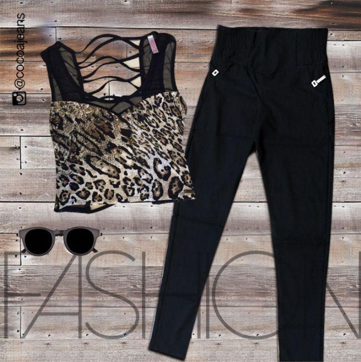 Enamórate de este hermoso #outfit #animalprint #stylish #woman #fashion #trendy #black #cocoajeans