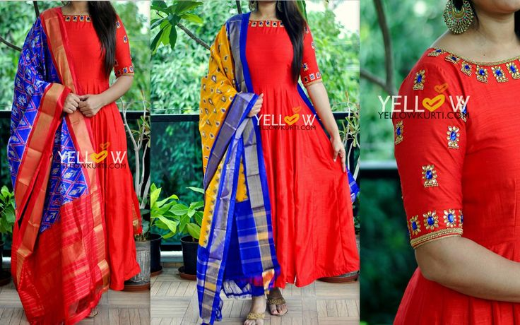 Red handloom silk with detailed kundan work around neckline and sleeves. Teamed up with pure silk Ikkat dupatta ( Can be mixed and matched with any other dupatta )*Can be customised as per customer preferences. <br> Kindly write toteamyellow@yellowkurti.com or whatsapp @ 7995038888 for assistance on placing orders ! 24 August 2017