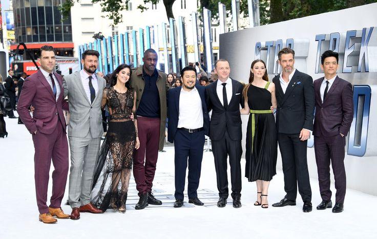 John Cho, Idris Elba, Justin Lin, Simon Pegg, Zachary Quinto, Karl Urban, Sofia Boutella, Chris Pine, and Lydia Wilson at Star Trek Beyond (2016)