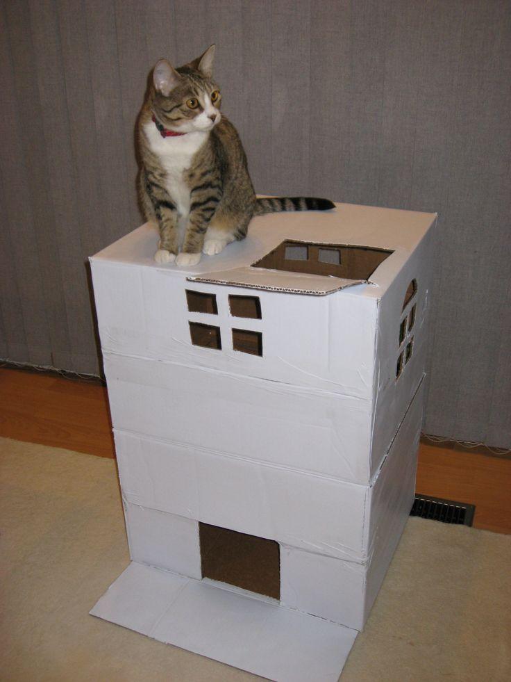 cardboard diy cat house cat tree pinterest cats cat. Black Bedroom Furniture Sets. Home Design Ideas