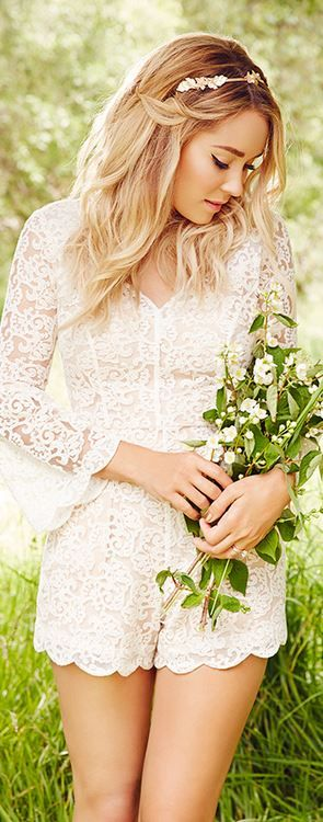 Who made Lauren Conrad's white lace romper?