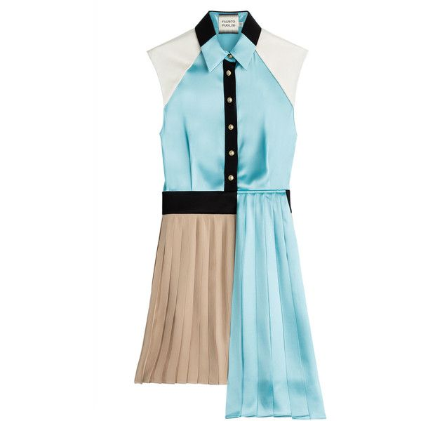 Fausto Puglisi Asymmetric Dress (6.582.550 IDR) ❤ liked on Polyvore featuring dresses, teal, teal dress, satin dress, short blue dresses, fitted dresses and blue pleated dress