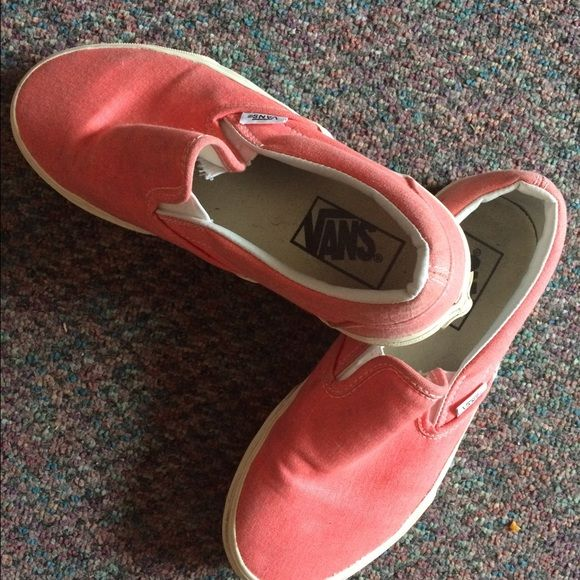 Coral Vans canvas shoes A little beat up, but they still look clean, no holes or anything! I've worn them twice total! Size 7 Vans Shoes Flats & Loafers