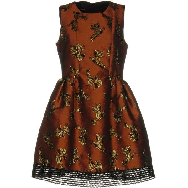 Pinko Short Dress (310 CAD) ❤ liked on Polyvore featuring dresses, brown, mini dress, short dresses, brown dress, metallic short dress and no sleeve dress