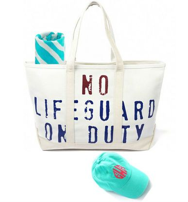 Even if it's not beach weather, you'll want to carry this super roomy Lifeguard On Duty (No Lifeguard On Duty on the back) Canvas Tote. With its sturdy straps and handy inside pocket it's perfect for