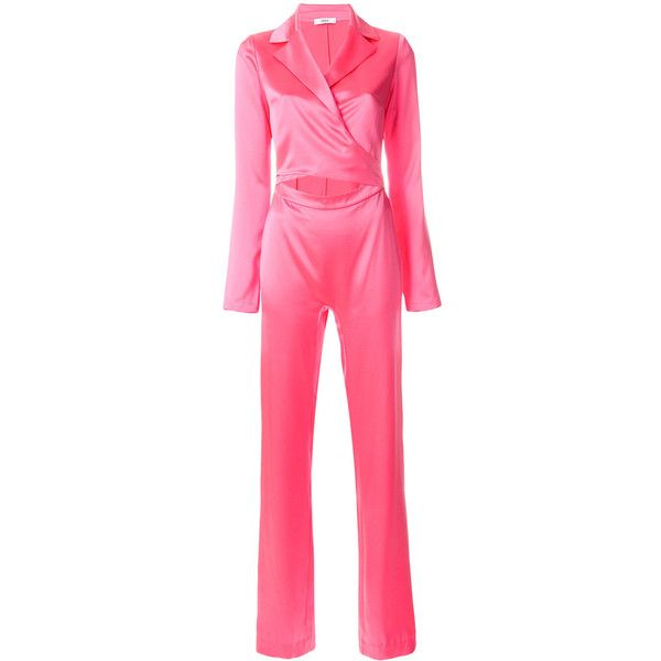 Area cut out jumpsuit ($1,078) ❤ liked on Polyvore featuring jumpsuits, jumpsuit, pink jumpsuit, cutout jumpsuits, cut-out jumpsuits, jump suit and silk jumpsuits