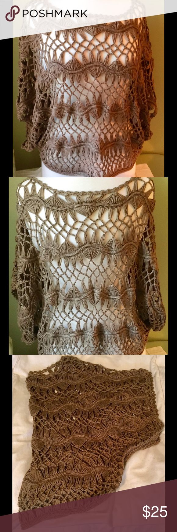 Body Central Top Body Central Crochet Topper, size S/M Very pretty brown/taupe color, goes with everything.  EUC Body Central Sweaters Shrugs & Ponchos