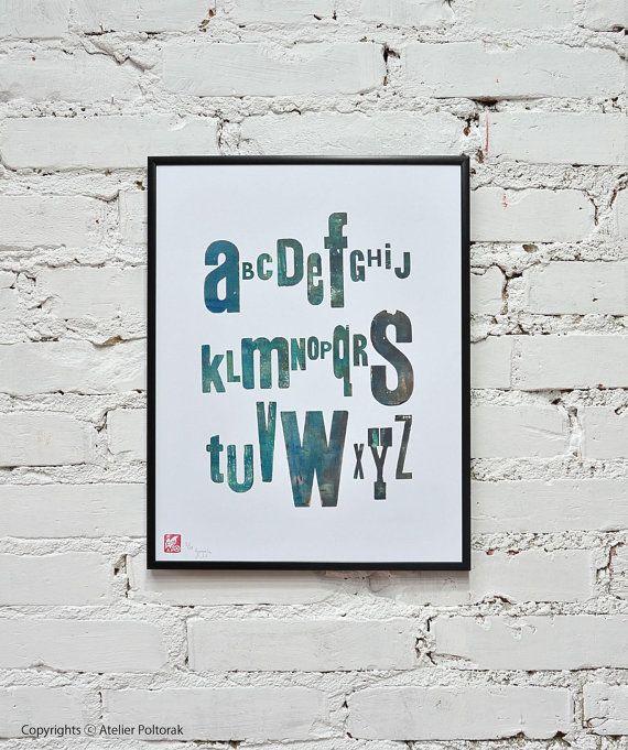 Blue alphabet  letterpress poster by AtelierPoltorak on Etsy