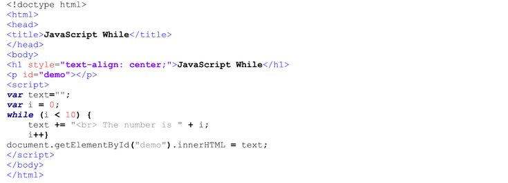 Internal JavaScript Code for While Loop.  Text Editor - Notepad++.