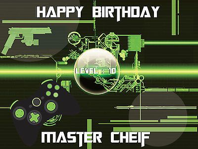 Video Gamer Happy Birthday Banner Party Poster Backdrop Xbox Wall Decor Print