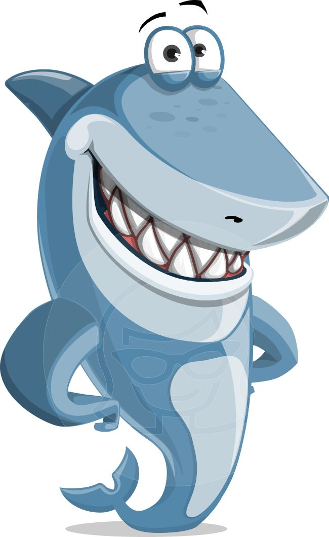 Smiling shark cartoon illustration. Vector character suitable for any project need. #graphicmama #shark