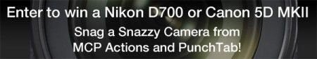enter to win a Nikon D700 or Canon 5D MKII.....who wouldnt love to win one of those! :)