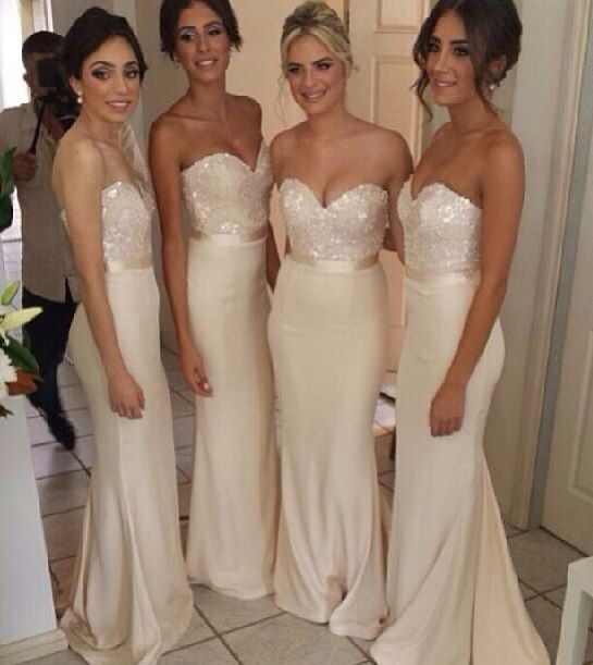 Cream bridesmaid dresses if this were knee length this is what id be wearing so cute