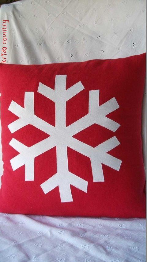 Hópehely - Vidéki romantika párnahuzat, Karácsonyi, adventi apróságok, Karácsonyi dekoráció, Meska