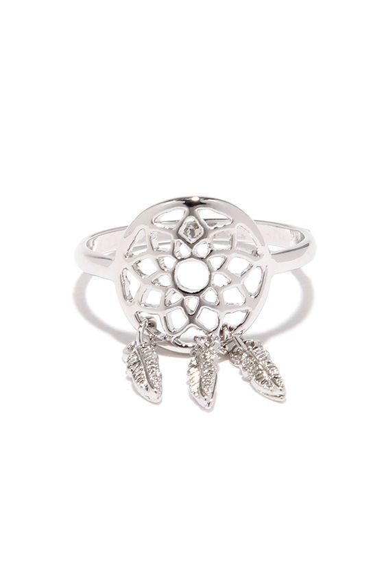 Rest easy knowing that your jewelry box is filled with conversation pieces like the Sound A-Chic Silver Dream Catcher Ring! A cutout, dream catcher-inspired focal is trimmed with dainty feathers that dangle from small jump rings. A shiny silver band offers a clean, and classic look. Size 7 only. Man made materials.