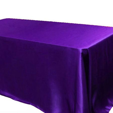 Elegant 60 X 126 Rectangle Satin Purple Tablecloth | Www.SmartyHadAParty.com
