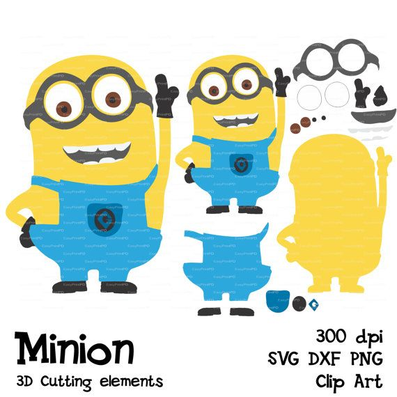 Minions Despicable Me SVG, DFX, PNG cutting file Silhouette Clip Art 3D elements template Vinyl die Cut for Silhouette Cricut EasyPrintPD