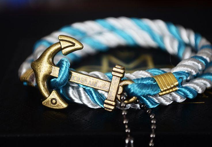 Sky Blue & White Anchor Rope Bracelet.