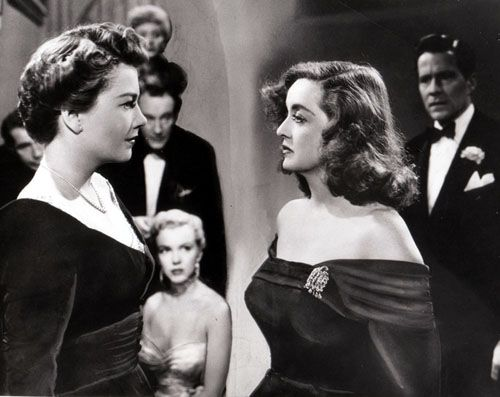 "American film, ""All About Eve"":  Four of the movie's Oscar nominees, Anne Baxter, George Sanders, Celeste Holm and Bette Davis) as well as the young actress sitting down named ""Marilyn Monroe"".  One of Bette Davis great performances."