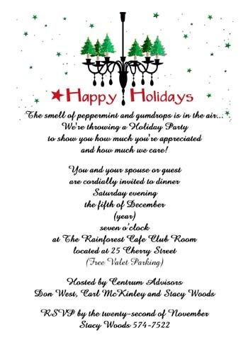 36 best Christmas Party Invitations images on Pinterest - business dinner invitation sample