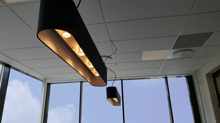 Black FlabFAB acoustic lighting pendant at Arkitema office, Oslo