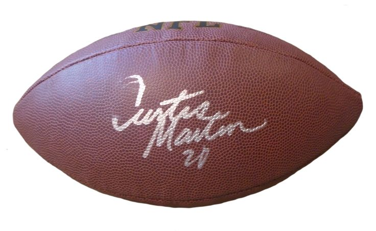 Curtis Martin Autographed NFL Wilson Composite Football, Proof Photo