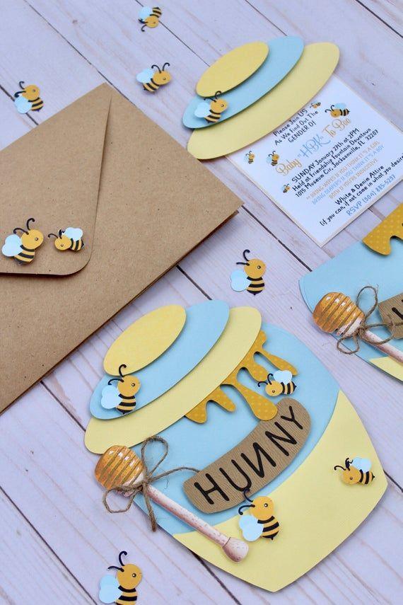12 cts/ Bee & Honey tema Jar invitaciones para Baby Shower, Gender Reveal o fiesta de cumpleaños