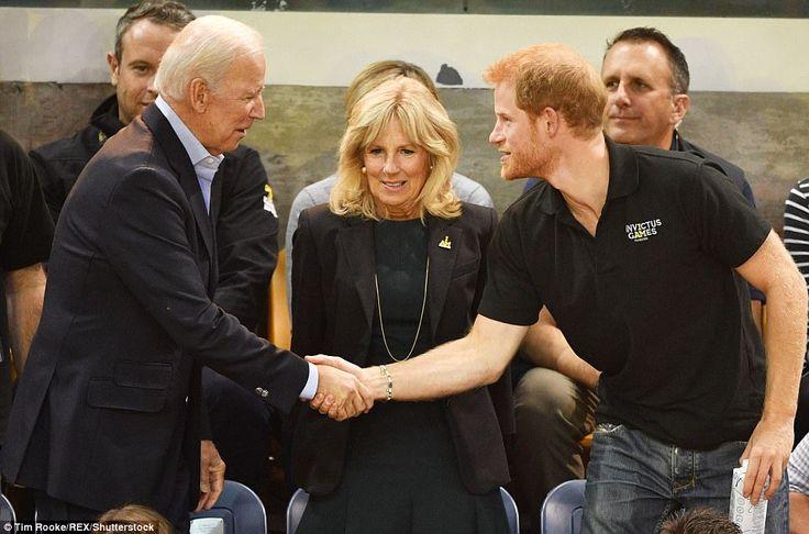 Former US Vice President Joe Biden (left) and his wife Dr Jill Biden (center) joined Princ...