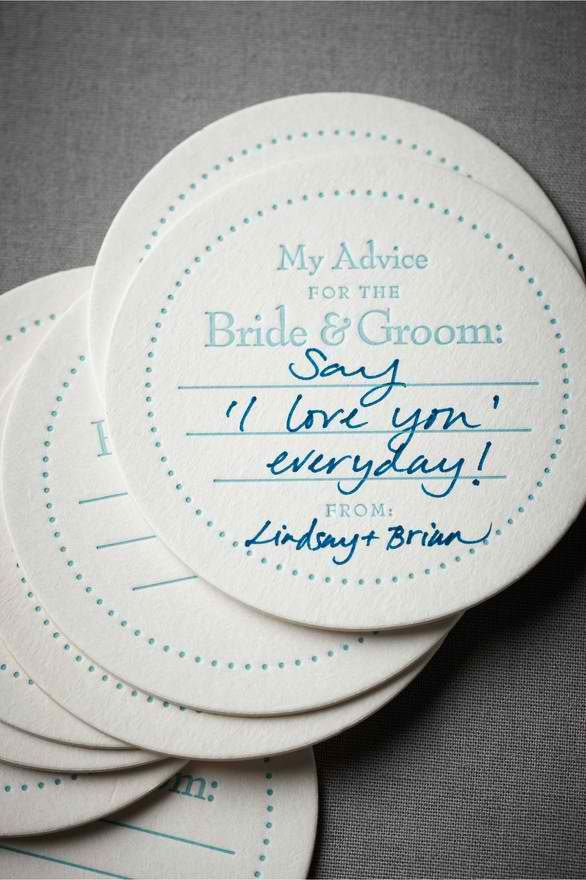 cute idea every guest at the wedding writes some advice for the newlyweds