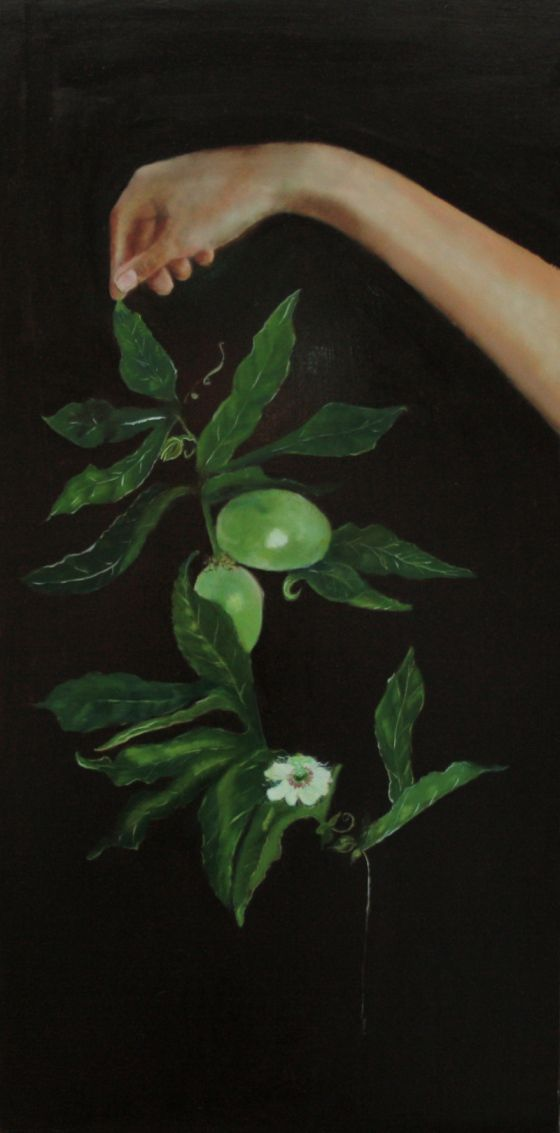 green - hand and plant - 'A gift from a garden, passon' -Arabella Caccia - painting