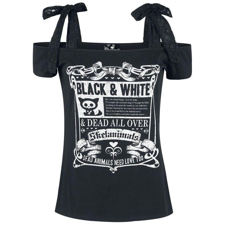 """Wir finden schwarz und weiß passen super zusammen. Exklusiv für euch haben wir dieses schwarze Girl T-Shirt von Skelanimals. Auf der Front prangt ein niedliches Skelanimal mit dem Schriftzug """"Black & White"""" und """"Dead Animals Need Love Too"""". Der Schnitt des T-Shirt mit den freien Schulterpartien und den Trägern zum Schnüren ist einfach spitze. Das Shirt bekommt ihr bei uns bis Größe 3 XL."""