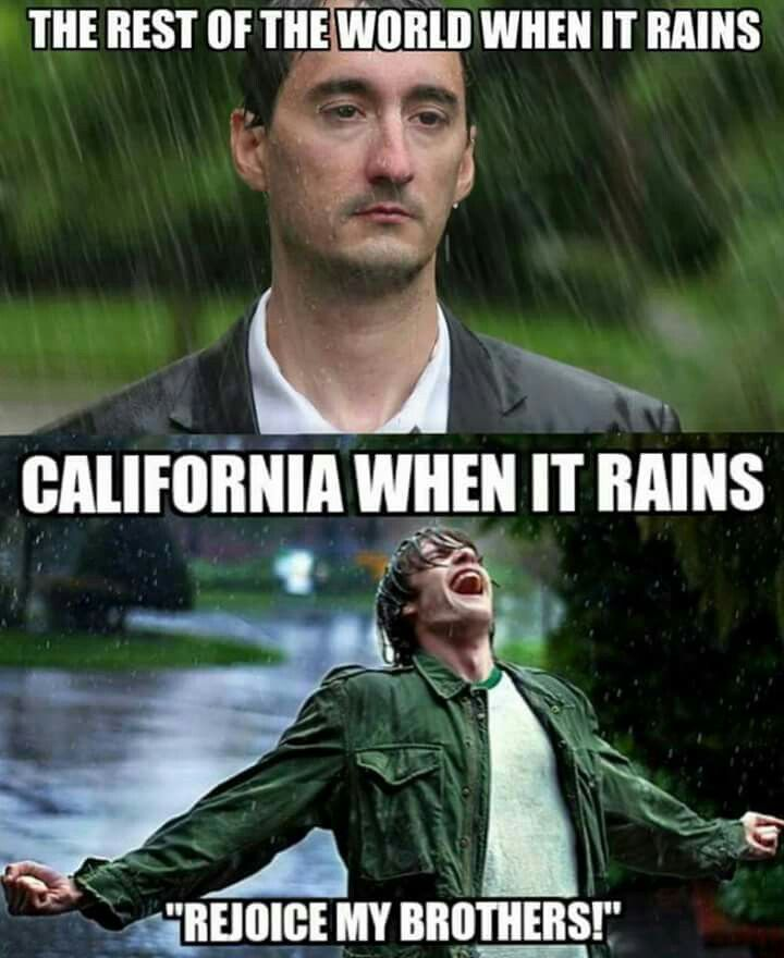 Image result for funny california memes rain