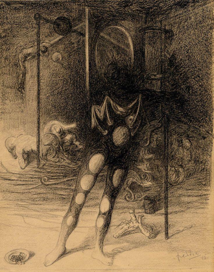 """Wilhelm Freddie (1909-1995) """"Mysteriedansaren"""" (Mystery Dancer) Charcoal on Paper, 1945"""