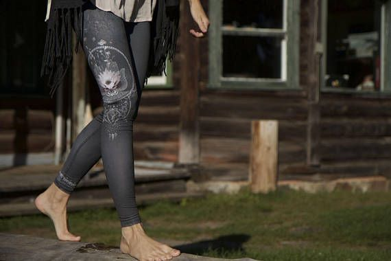 Dark Gray leggings. High waist. Lotus print. Reversible. Made of 6 recycled plastic bottles. 100% Flattering, Soft, Comfortable, Breathable, Flexible, Ethical, Sustainable, Gorgeous. Hassle Free. Athleisure at its best. ∞ ∞ ∞ ∞ ∞ You recycle, compost, buy organic brocoli. You are