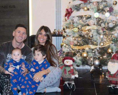 Messi and his wife, Antonella with their sons Thiago and Mateo