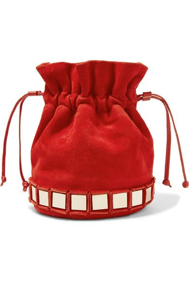 Tomasini - Lucile Embellished Suede Bucket Bag - Red - one size