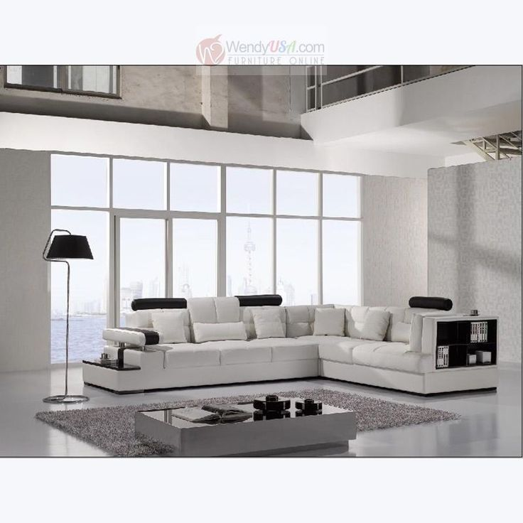 Modern White Leather Sectional Sofa with Storage Shelves on one side and end table on the other side. : sofas with chaise on one end - Sectionals, Sofas & Couches