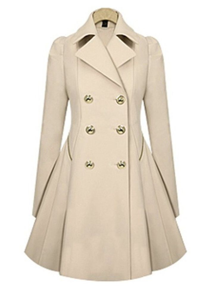 Shop Women's Tops - Beige Lapel Casual Solid Wool Coat online. Discover unique designers fashion at JustFashionNow.com.