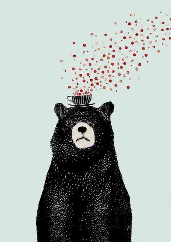 Magic coffee. On the head of a big fuzzy bear.