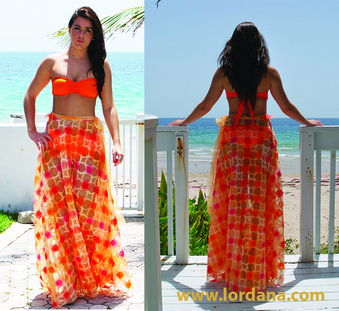 Orange bandeau top with boy short and skirt cover-up