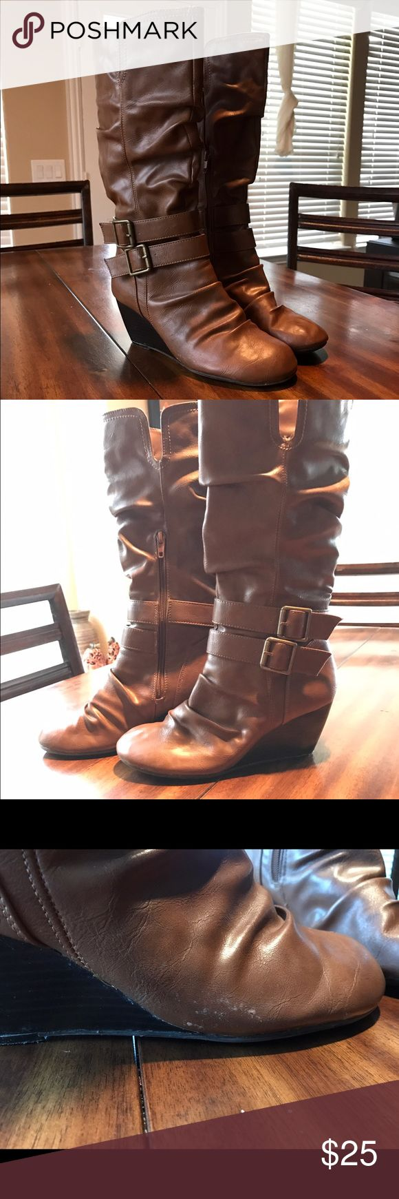 Brown wedge slouchy boots Brown wedge slouchy boots, minimal scuff as seen in the pictures. EUC Shoes Heeled Boots