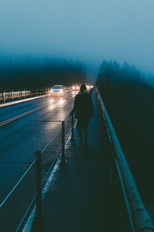 Fuck. This photo is too real. If it wasn't for the railing, it would look exactly like 'the top road' at home home. I've walked that path so many times in mist and headlights just like this wishing to escape the world but never being able to.