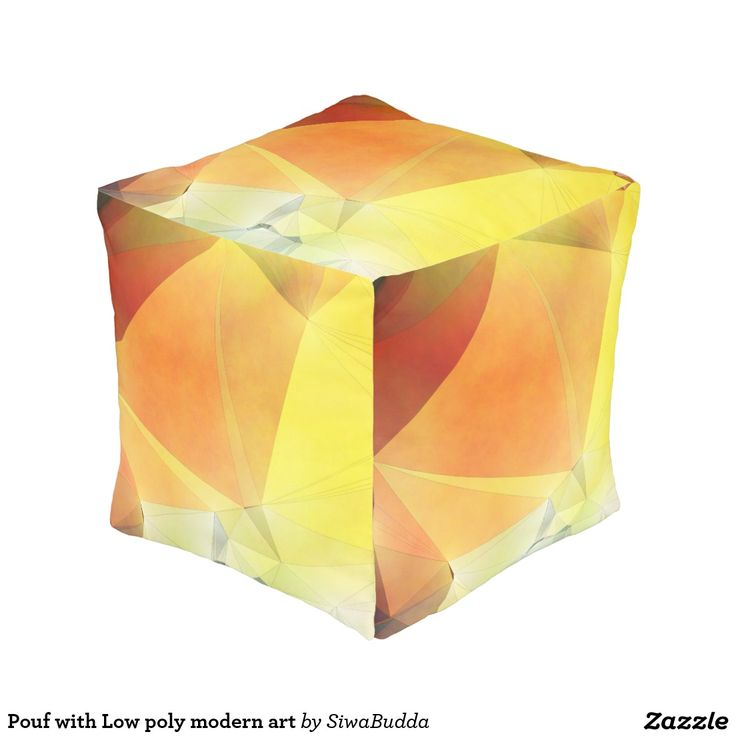 Pouf with Low poly modern art Cube Pouf