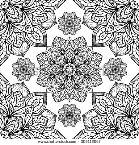 Seamless Eastern Graphic Pattern Of Mandalas On A White Background Vector Elegance Ornament