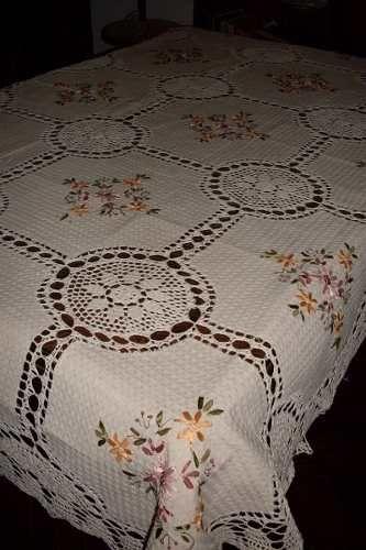 Manteles En Crochet Y Tela Rústica Bordado En Cinta