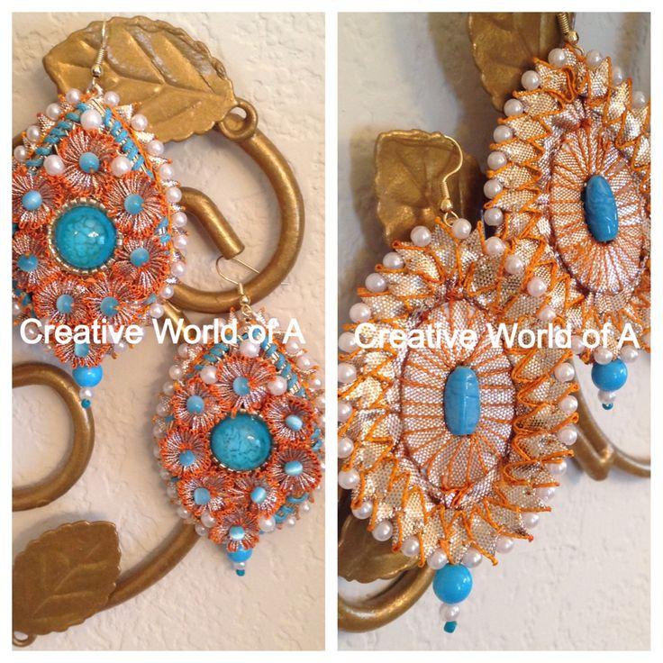 Gota earring with ferozy beads. www.facebook.com/creativeworldofA