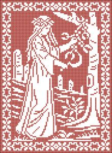 Druidess gathering mistletoe | Chart for cross stitch or filet crochet. The pdf file (attachment) contains two patterns: black on white and white on black.
