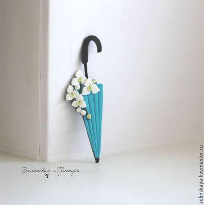 Броши ручной работы. Ярмарка Мастеров - ручная работа. Купить Зонтик с белой орхидеей. Брошь. Handmade. Бирюзовый, орхидея, зонт